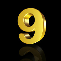 The number nine with the effect of 3D