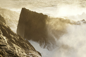 giant waves breaking on the cliffs