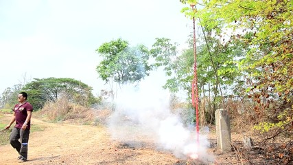 Firecrackers points in the Qingming Festival at Ratchaburi