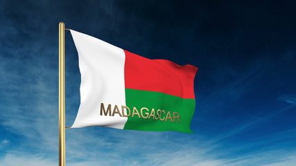 Madagascar flag slider style with title. Waving in the wind with