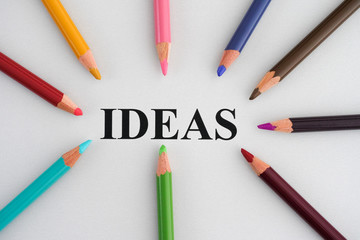 Word Ideas and colorful pencils
