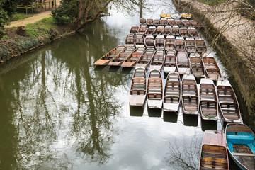 Punting boats moored up by Magdelan bridge