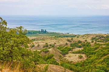 Crimea beach panoramic view , Yalta resort, Russia