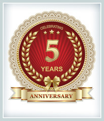 postcard with the 5th anniversary