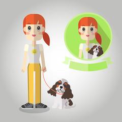 Leash dog walking Mascot cartoon. Vector EPS10.