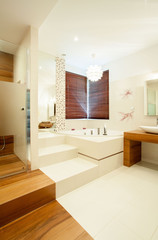 Bathroom with wooden elements