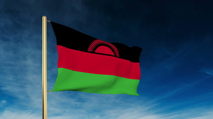 Malawi flag slider style. Waving in the wind with cloud