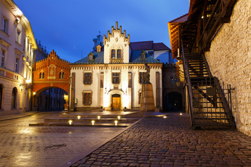 historic architecture in the old town of Krakow, Poland.