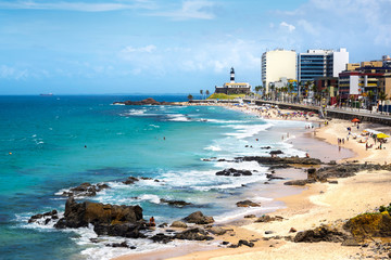 Barra Beach and Farol da Barra in Salvador, Bahia, Brazil