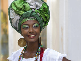 Brazilian Woman in Traditional Attire, Salvador, Bahia, Brazil