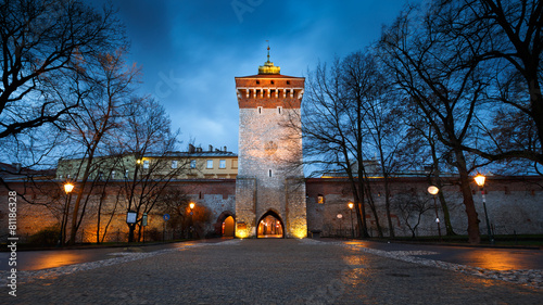 City wall in the old town of Krakow, Poland.