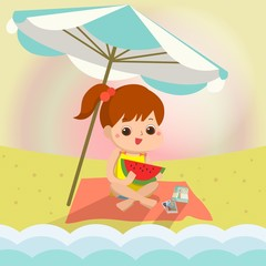girl on the beach Mascot cartoon. Vector EPS10.