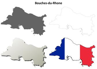 Bouches-du-Rhone (Provence) outline map set