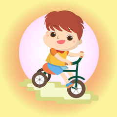 boy on bike Mascot cartoon great for any use. Vector EPS10.