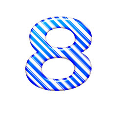 The number eight from the caramel color is blue