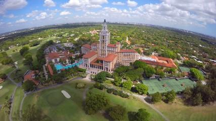 Aerial video Biltmore Hotel historic landmark