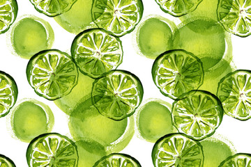 A watercolour green lime seamless background pattern