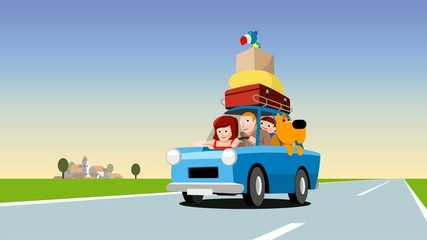 Family in a blue car loaded with luggage, cartoon footage