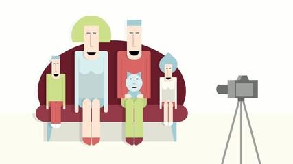 Family photographs, cartoon footage