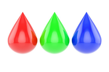 Three glossy rgb drops isolated on white background