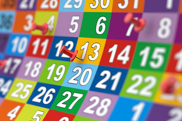 Colorful month calendar with red pins. Illustration with soft fo