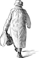 elderly woman for a walk