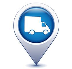 camion livraison sur marqueur géolocalisation bleu