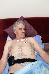 Patient with a Holter monitor