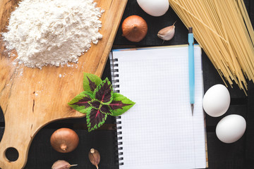 the blank recipe book with italian spaghetti