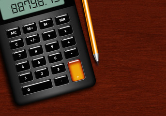 calculator with pencil lying on wooden desk