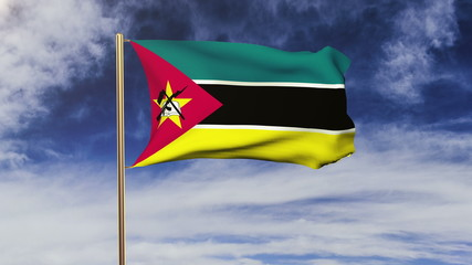 Mozambique flag waving in the wind. Green screen, alpha matte