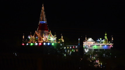 Night of celebration in Thailand temple
