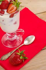 dessert with ripe strawberry