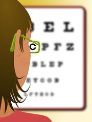 Mujer con gafas leyendo una tabla optométrica