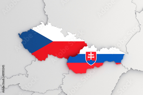 Poster Slovak republic and Czech republic 3D map FLAG version