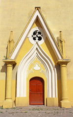 Entrance to Roman Catholic Cathedral, Berehovo, Ukraine