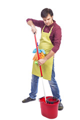 Full length portrait of young man ready to mop the floor