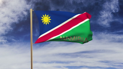 Namibia flag with title waving in the wind. Looping sun rises