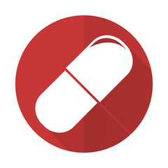 drugs red flat icon medical sign