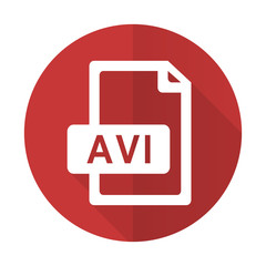 avi file red flat icon