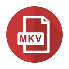 mkv file red flat icon
