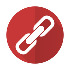 link red flat icon chain sign