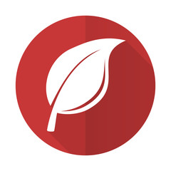 nature red flat icon leaf sign