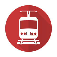 train red flat icon public transport sign