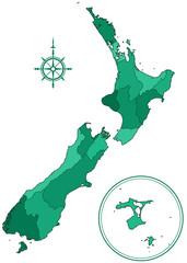 New Zealand contour map