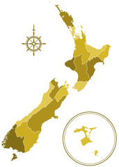 New Zealand silhouette map