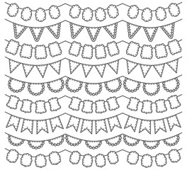 Vector Collection of Black Line Art Bunting