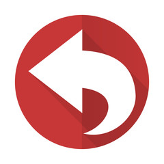 back red flat icon arrow sign