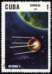 "Post stamp with first russian satellite ""Sputnik-1"""