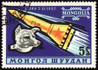 Soviet rocket and dog Laika on Mongolian post stamp